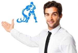 знак зодиака водолей мужчина в рубашке указывает рукой