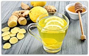 чай с лимоном,имбирем и медом
