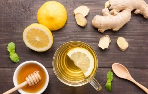 чай, имбирь, лимон и мед