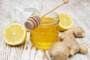 мед, лимон и корень имбиря