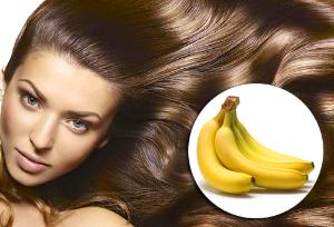 девушка с шикарными волосами и бананы