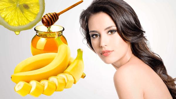 лимон, мед, банан и девушка с длинными волосами