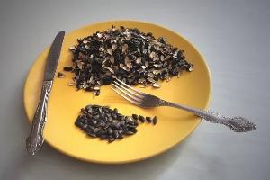 семечки и их шелуха на желтой тарелке с вилкой и ножом
