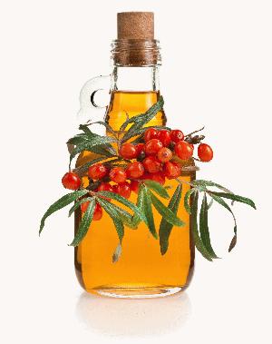 бутылка с маслом, украшенная веточкой облепихи с ягодами