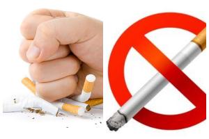 кулак ломает сигареты, сигарета в запрещающем знаке