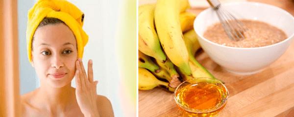 девушка с полотенцем на волосах, банан, мед и овсянка