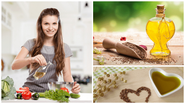 девушка льет масло в салат, коллаж с маслом