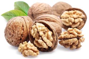 грецкие орехи в скорлупе на белом фоне