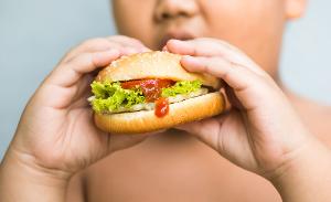 полный мальчик ест бургер