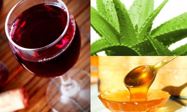 красное вино, алоэ и мед