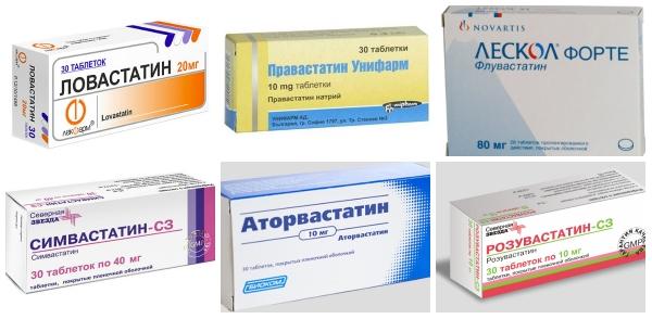 статины, упаковки таблеток