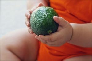 ребенок держит в руках авокадо