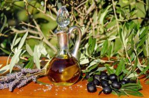 ветви оливкового дерева, оливки и масло