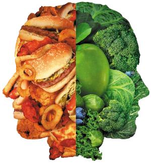лицо из вредных и полезных продуктах