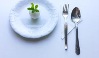яйцо на тарелке, вилка и ложка