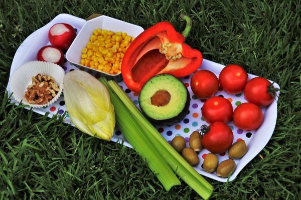 поднос с различными овощами на траве