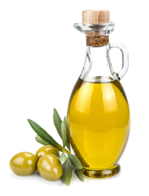 бутылка оливкового масла и оливки