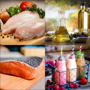 филе курицы и рыбы, масло и смузи