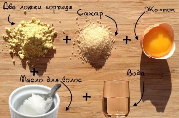 яйцо, горчица, сахар, вода