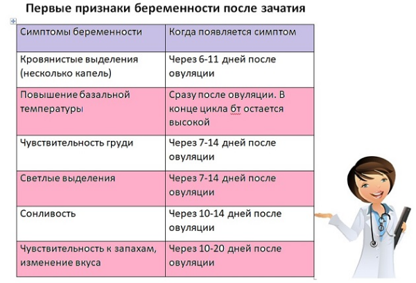 таблица с признаками беременности