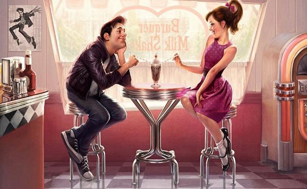 рисунок, пара в кафе