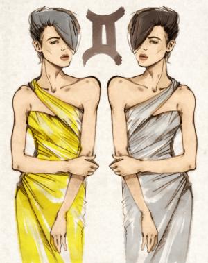 арт девушка знака близнецы