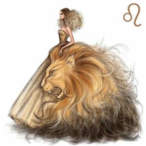 девушка в платье с рисунком льва