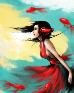 рисунок девушки и рыб
