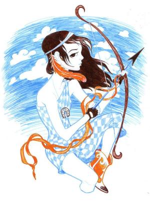 арт девушка знака стрелец