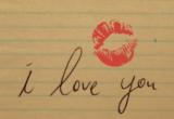 надпись на тетради с поцелуем