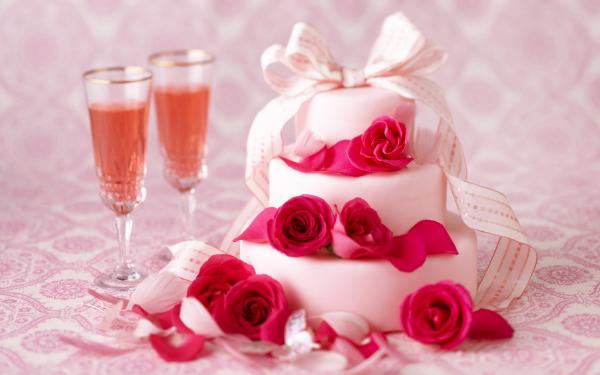 торт, розы, бокалы