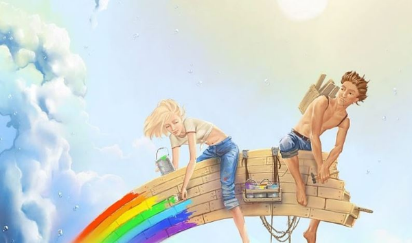 пара строит радугу