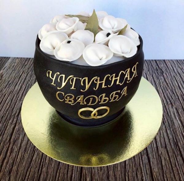 торт в виде котелка с пельменями