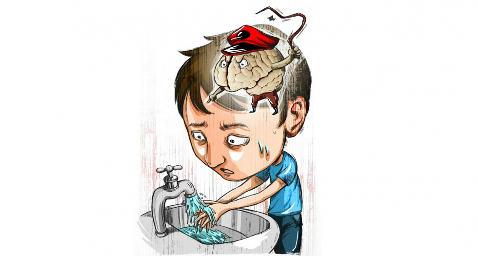 рисунок, мальчик моет руки