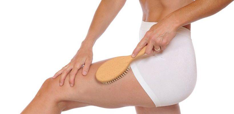 массаж сухой щеткой техника для похудения живота